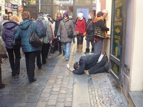 Man Bowing Down